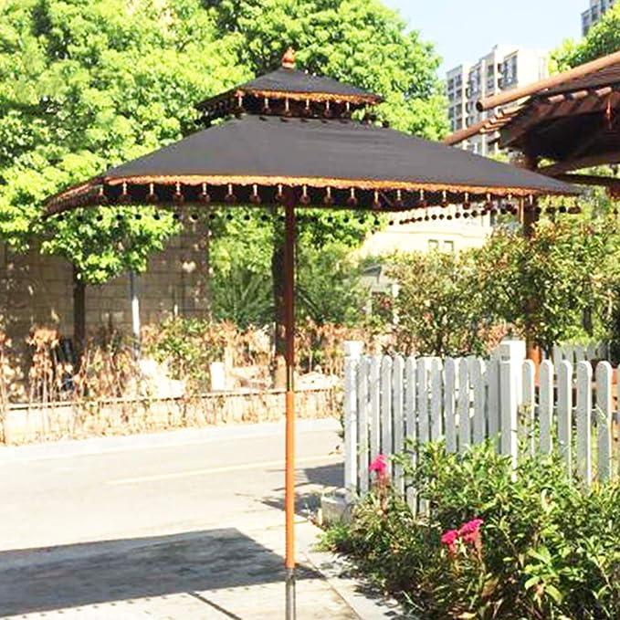 WWWRL Parasol de jardín | 1.8x1.8m | Altura 2.5m | Madera Sombrilla Patio, Protección UV- A Prueba de Viento, Grande Borla Sombrillas de Playa al Aire Libre - Negro Cuadrado: Amazon.es: Hogar