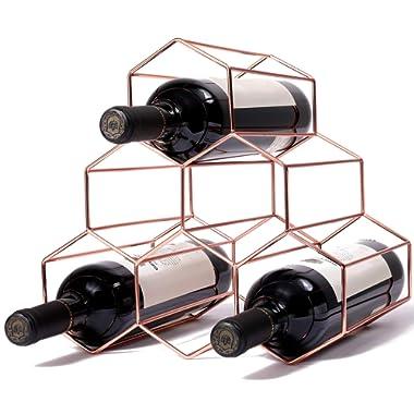 exilot 6 Bottles Metal Wine Rack, Countertop Freestanding Wine Bottle Storage Holder,Space Saver for Red & White Wines - Rosegold ¡