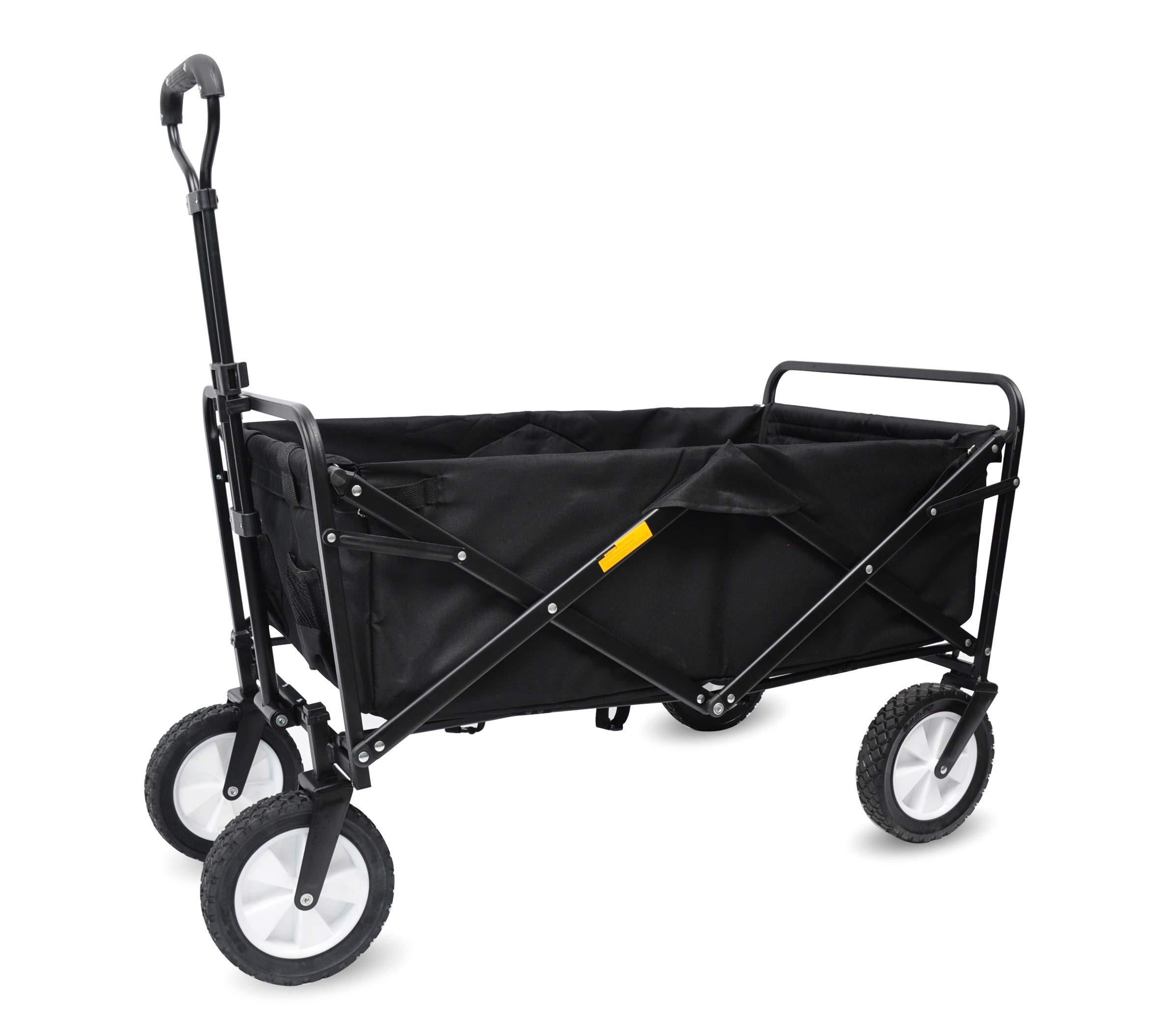 WHITSUNDAY Collapsible Folding Garden Outdoor Park Utility 30'' Picnic Wagon 1 Year Warranty (Black)
