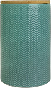Blue Donuts 50 Oz Ceramic Airtight Jar with Bamboo Lid,Ceramic Airtight Food Storage Containers,Ceramic Kitchen Canisters, 1500 ML Airtight Jar, Airtight Food Storage Containers for Pantry, Turquoise