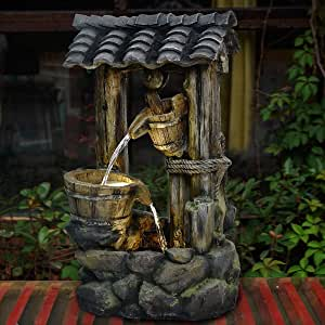 """Brafab 3-Tier Water Fountain Floor Standing Rock Indoor Outdoor Water Fall Fountain with 3pcs Yellow LED Light Lid and Bucket for Patio Yard Garden Lawn 30"""" Height"""