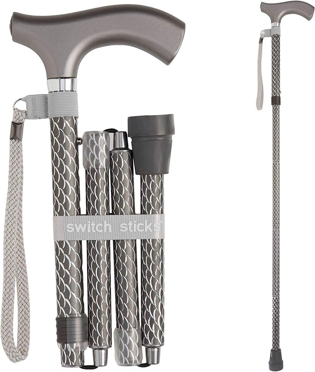 Switch Sticks Aluminum Adjustable Folding Cane and Walking Stick collapses and adjusts from 32 to 37 inches, Engraved Graphite