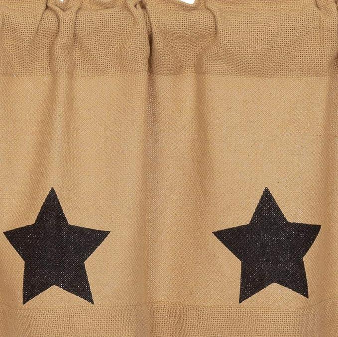 "COUNTRY PRIMITIVE RUSTIC DELUXE BURLAP BLACK STAR SWAG CURTAIN SET 72/""W x 36/""L"