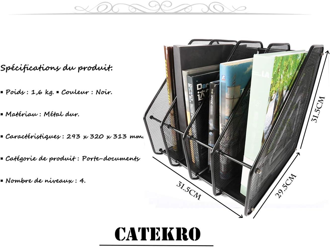 Mehrschichtiges Metalleisengeflecht Aktenhalter Tisch-Finishing Clip B/ürobedarf Student Daten-Aufbewahrung Aktenbox Briefablage 4 F/ächer schwarz