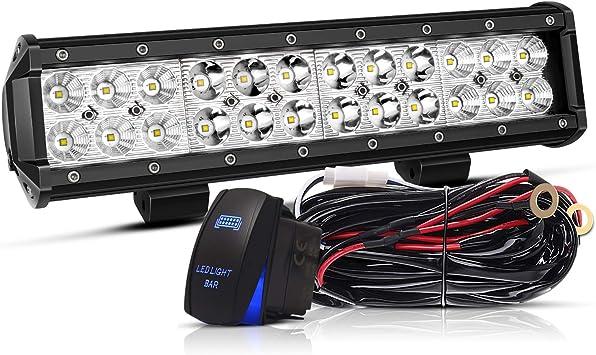12in 72W LED Light Bar Work Spot Flood Combo Beam For Quad Yamaha ATV UTV TRUCK