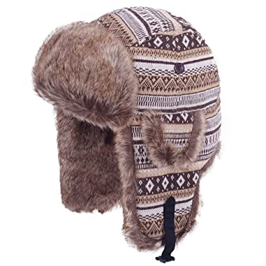 Original One Winter Outdoor Russian Trooper Trapper Cossack Ushanka Hunting  Hat Faux Fur Ear Flap Chin af0a51d70e0