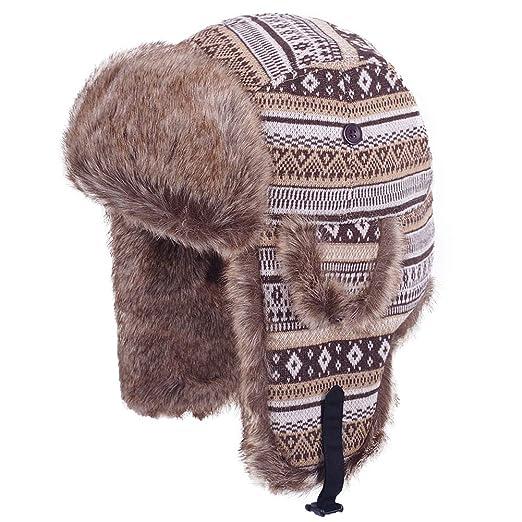 1ec49c007ae Original One Winter Outdoor Russian Trooper Trapper Cossack Ushanka Hunting  Hat Faux Fur Ear Flap Chin