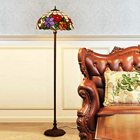 GAOLIQIN Tiffany Style lámpara de pie Europea Creativa jardín lámpara estándar Living Room lámpara de pie 16 Pulgadas: Amazon.es: Hogar