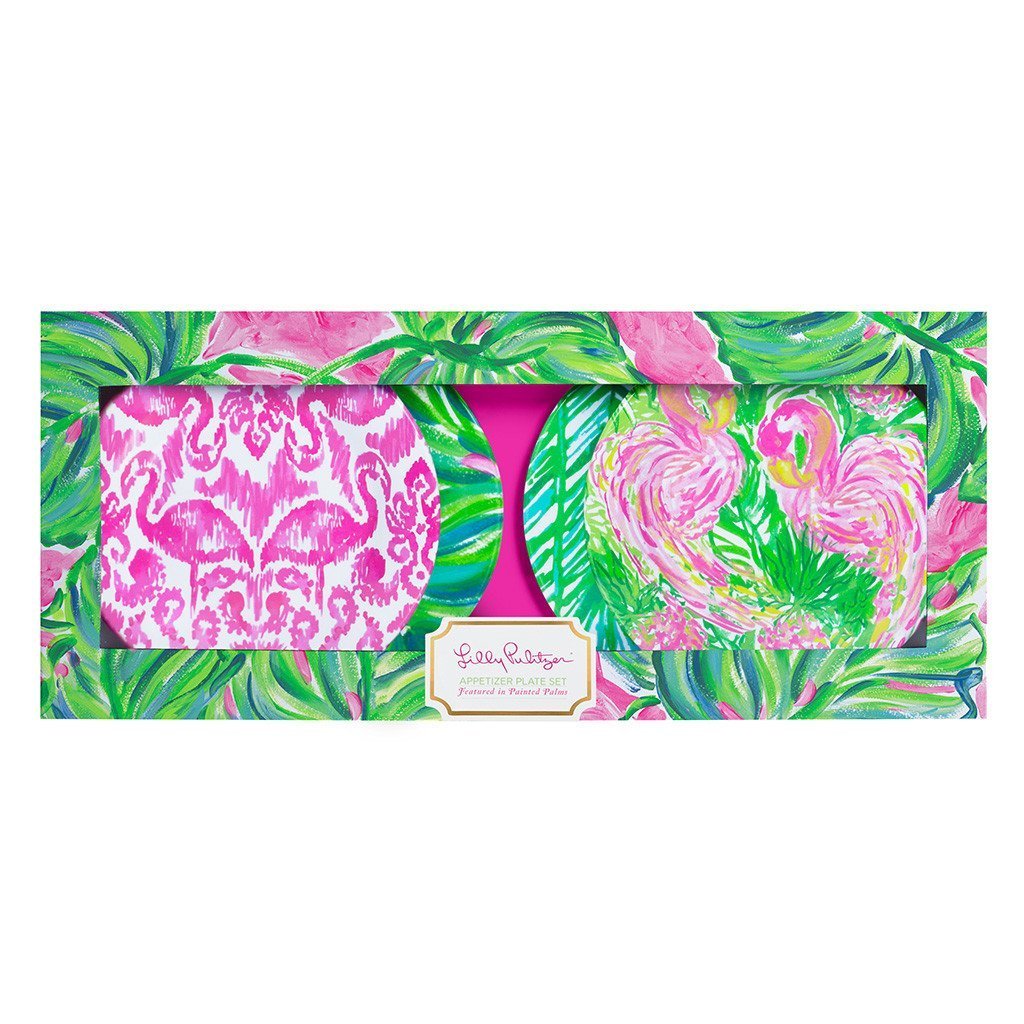 Lilly Pulitzer Painted Palms 4-Piece Appetizer Plate Set