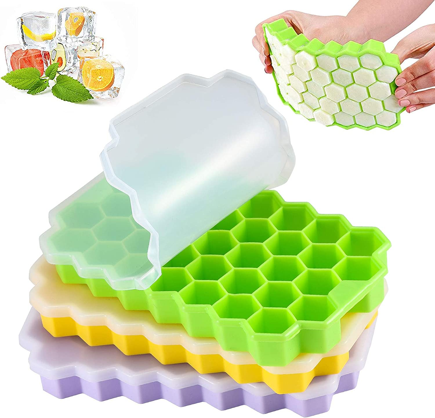 LessMo 111 Cubes Ice Cube Tray, 3 Pack Silicone Ice Cube Freezing Tray with Lids, Easy-Release, Flexible, Stackable, Perfect for Whiskey, Cocktail, Baby Food, Chilled Drinks, Green+ Yellow+ Purple