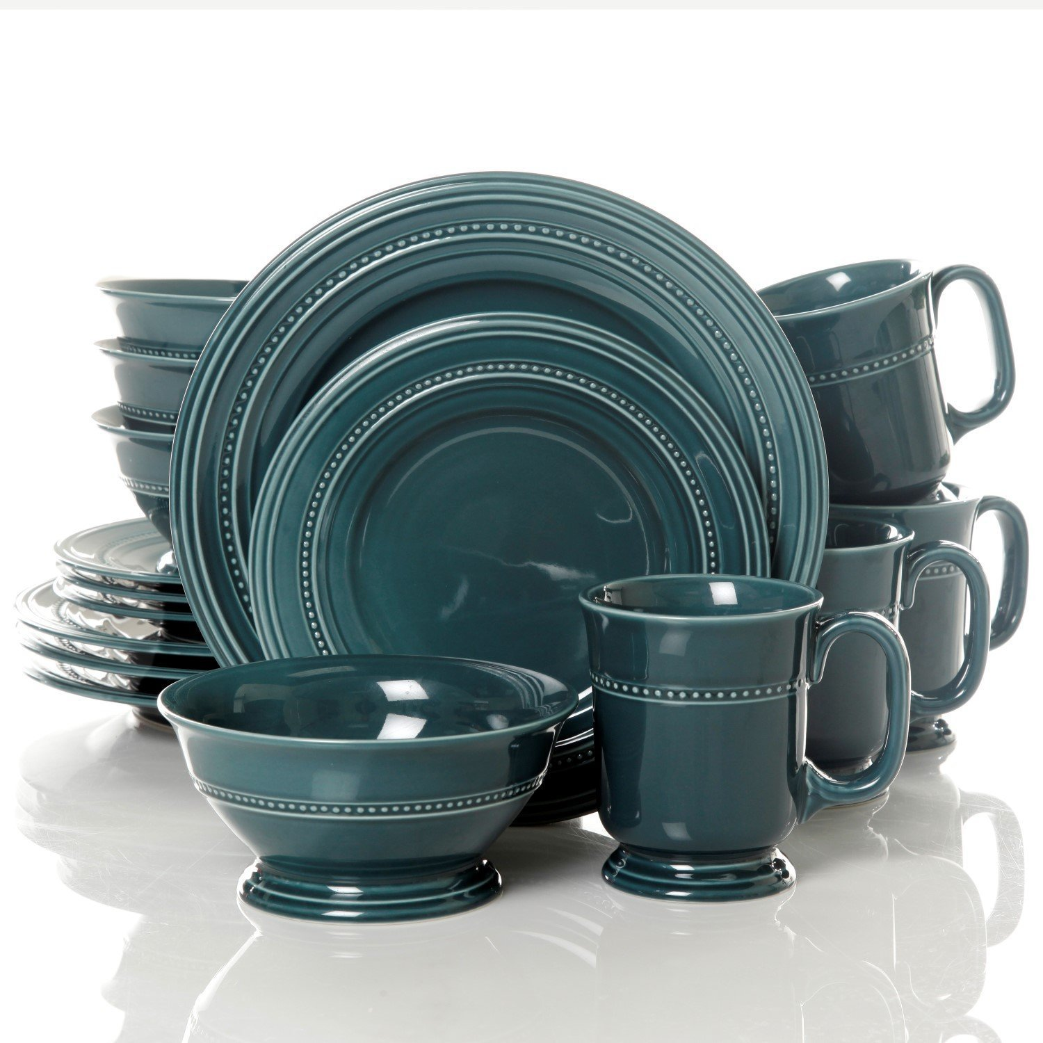 Gibson Elite Barberware 16 Piece Dinnerware Set Blue