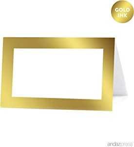 Andaz Press Table Tent Printable Place Cards on Perforated Paper, Metallic Gold Ink, Blank Border, 20-Pack, Placecards Table Settings for use with Charger Plates and Place Card Holders, Not Gold Foil