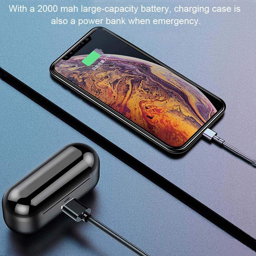 Samsung S20 for Apple iphone Built-in-mic MKL TWS Earbuds Bluetooth 5.0 Wireless Headphones with Automatic Pairing Phone Holder PC 2000 mAh Charging Case Noise Cancelling IPX5 Waterproof