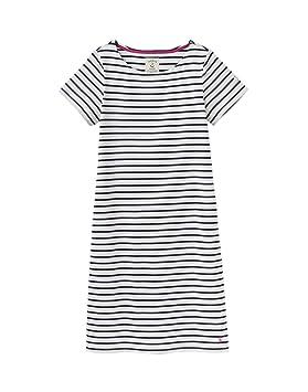Joules Womens Riviera Long Line Jersey Dress in NAVY CREAM STRIPE