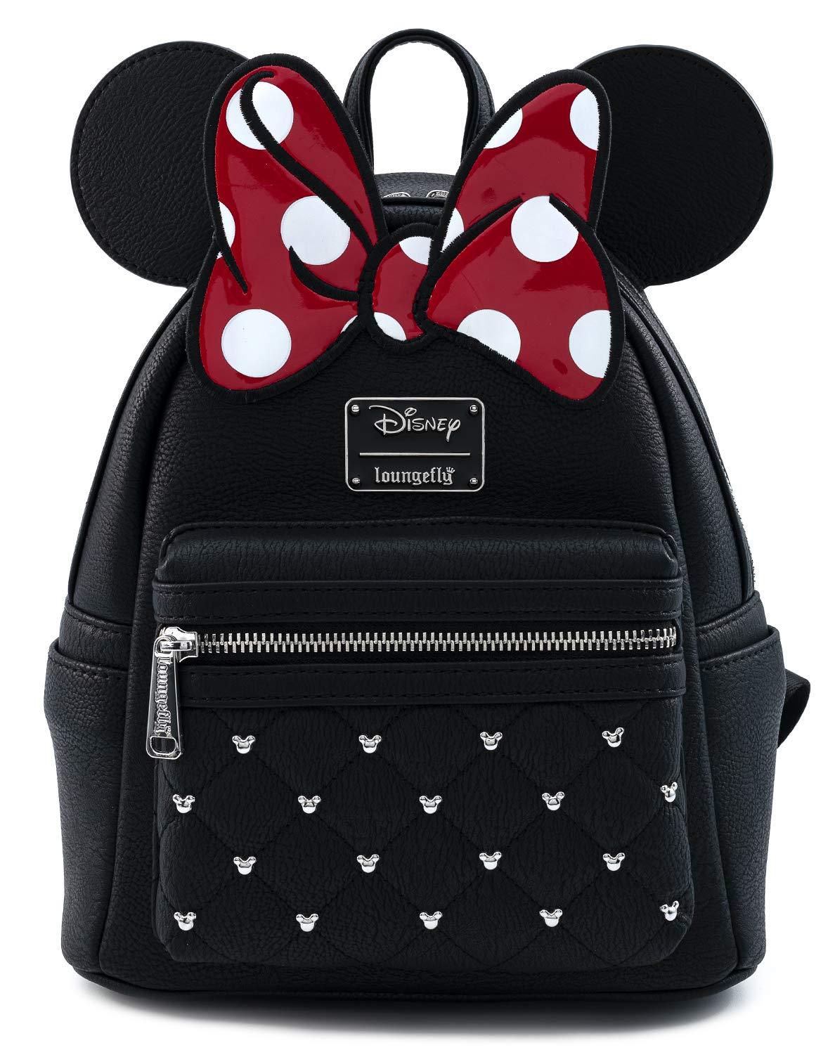 Disney Minnie Mouse Bow Faux Leather Womens Double Strap Shoulder Bag Purse