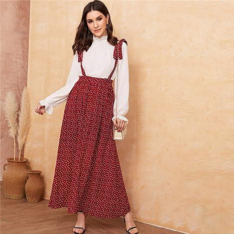 YISQING Falda de una línea con Estampado de corazón de Borgoña ...