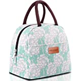 BALORAY Lunch Bag Tote Bag Lunch Bag for Women Lunch Box Insulated Lunch Container (Mint Green with Flower)
