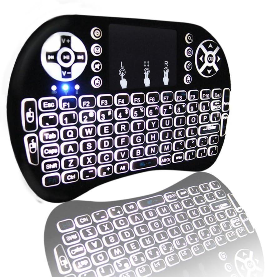 Mini teclado retroiluminado, globmall 2,4 gHz teclado inalámbrico con Touchpad Ratón, portátil Batería recargable para Raspberry Pi, Mac, Linux, IPTV, Android TV Box, Windows: Amazon.es: Electrónica