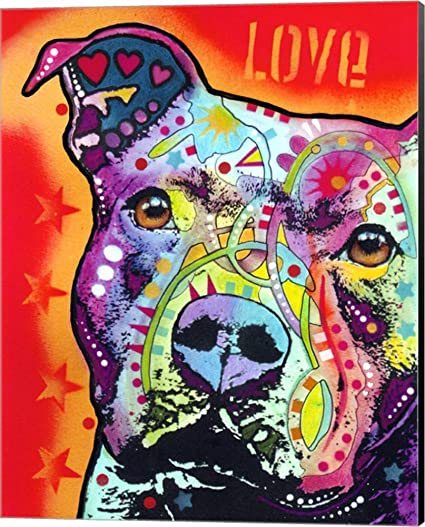 Thoughtful Pitbull 2 by Dean Russo Canvas Art Wall Picture, Museum Wrapped  with Black Sides, 16 x 20 inches