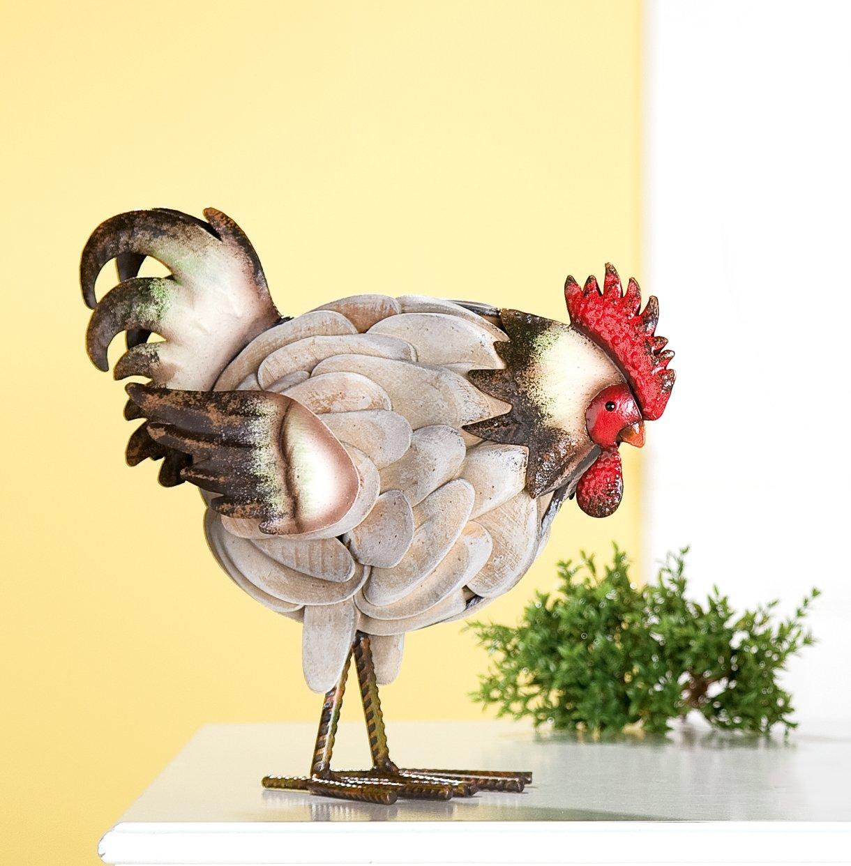 Deko Figur HENNE Metall + Treibholz Huhn stehend: Amazon.de: Küche ...