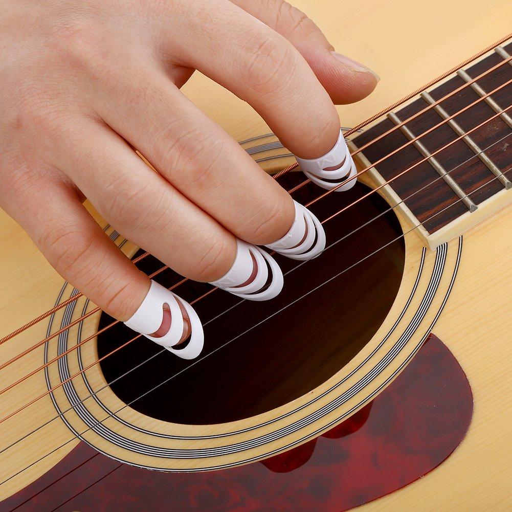 SolUptanisu 4Pcs Plastique Doigt Protecteur Bricolage Guitare Doigt Pouce Pick Protecteur Accessoire pour Guitare Ukelele Bass Mandoline