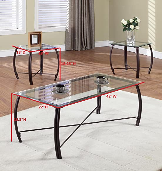 Kings Brand Furniture 3 Piece Beveled Glass with Copper Bronze Metal Frame Coffee Table 2 End Tables Set