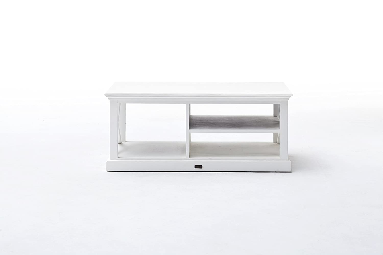 Amazon.com: NovaSolo Halifax Pure White Mahogany Wood Coffee Table ...