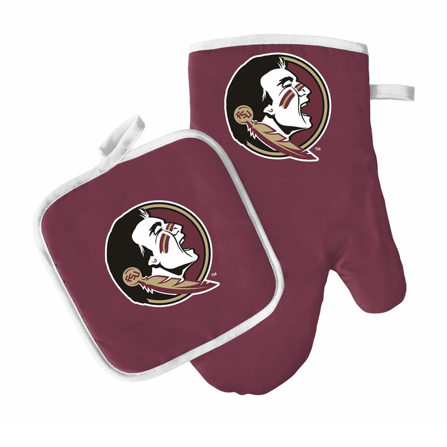 Pro Specialties Group Oven Mitt and Pot Holder Set - Barbeque BBQ Kitchen Backyard Outdoors - NCAA - Florida State Seminoles