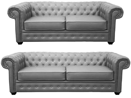 Admirable Chesterfield Style Venus Sofa 3 Seater 2 Seater Armchair Grey Faux Leather 3 2 Seater Gmtry Best Dining Table And Chair Ideas Images Gmtryco