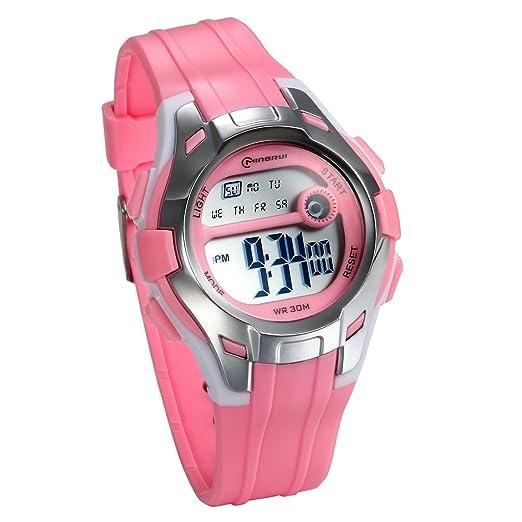 JewelryWe Relojes para Niños Niñas Digital Reloj Deportivo Para Aire Libre, Reloj Infantil De Colores Rosa, 3ATM A Prueba de Agua Buen Regalo 2017: ...