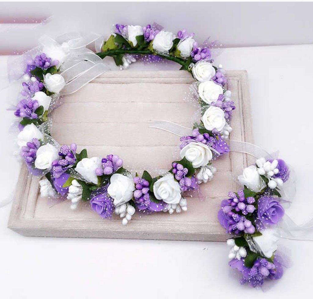&Crown flower headdress Flower Wreath , Headband Flower Garland Handmade Wedding Bride Party Ribbon Headband Wristband Hairband flower wreath crown ( Color : E ) WYZ