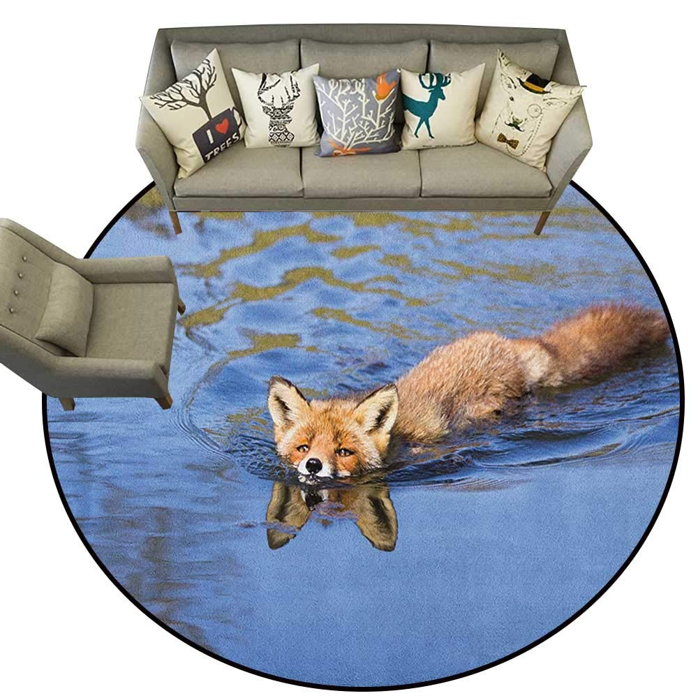 Style04 Diameter 66(inch& xFF09; Fox,Personalized Floor mats Doodle Forest Animal in Various Poses Sleeping Sitting with Heart Background D54 Floor Mat Entrance Doormat