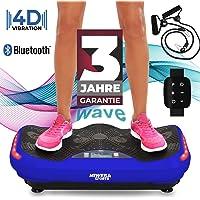Miweba Sports Fitness 4D Wave Vibrationsplatte MV300-3 Jahre Garantie - Armband Fernbedienung - Wave Design - 800 Watt - Bluetooth Lautsprecher - Trainingsbänder - Led - große Trittfläche