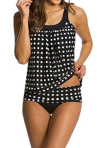 ASSKDAN® Damen Drucken Neckholder Tankini Badeanzug Hot Frauen Streifen Rückenfrei Monokini Raffiner...