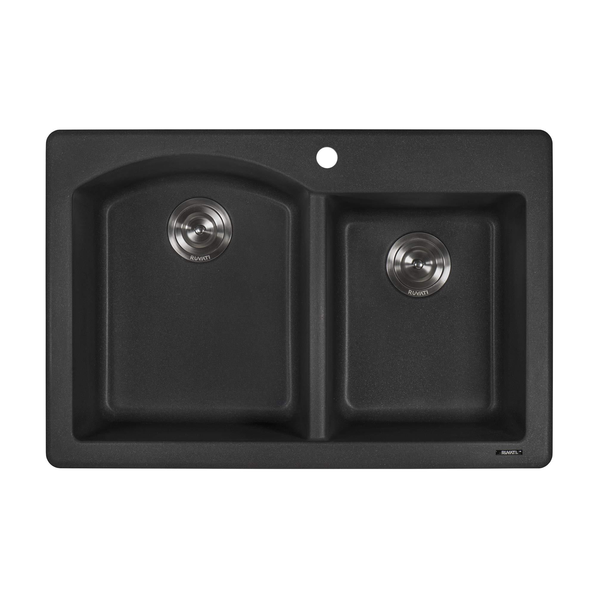 Ruvati 33 x 22 inch Dual-Mount Granite Composite Double Bowl Kitchen Sink - Black Galaxy - RVH1344GX