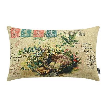 TRENDIN 20quot X 12quot Vintage Spring Plants Birds Nest Linen Throw Waist Pillow Case