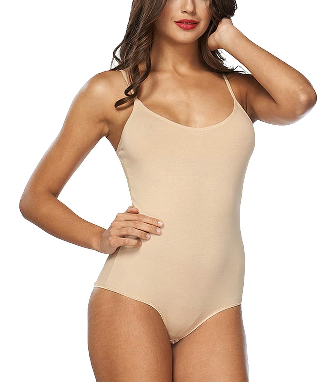 Kefali Body Damen Unterhemd Baumwoll Damen Stringbody Schwarz S M L XL