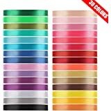 Value Satin Ribbon Pack 30 Color 750 Yard Total, Tomorotec 3/8 inch 25 Yard Each Silk Satin Rolls for Gift Package Wrapping Bows Crafts Gifts Party Wedding