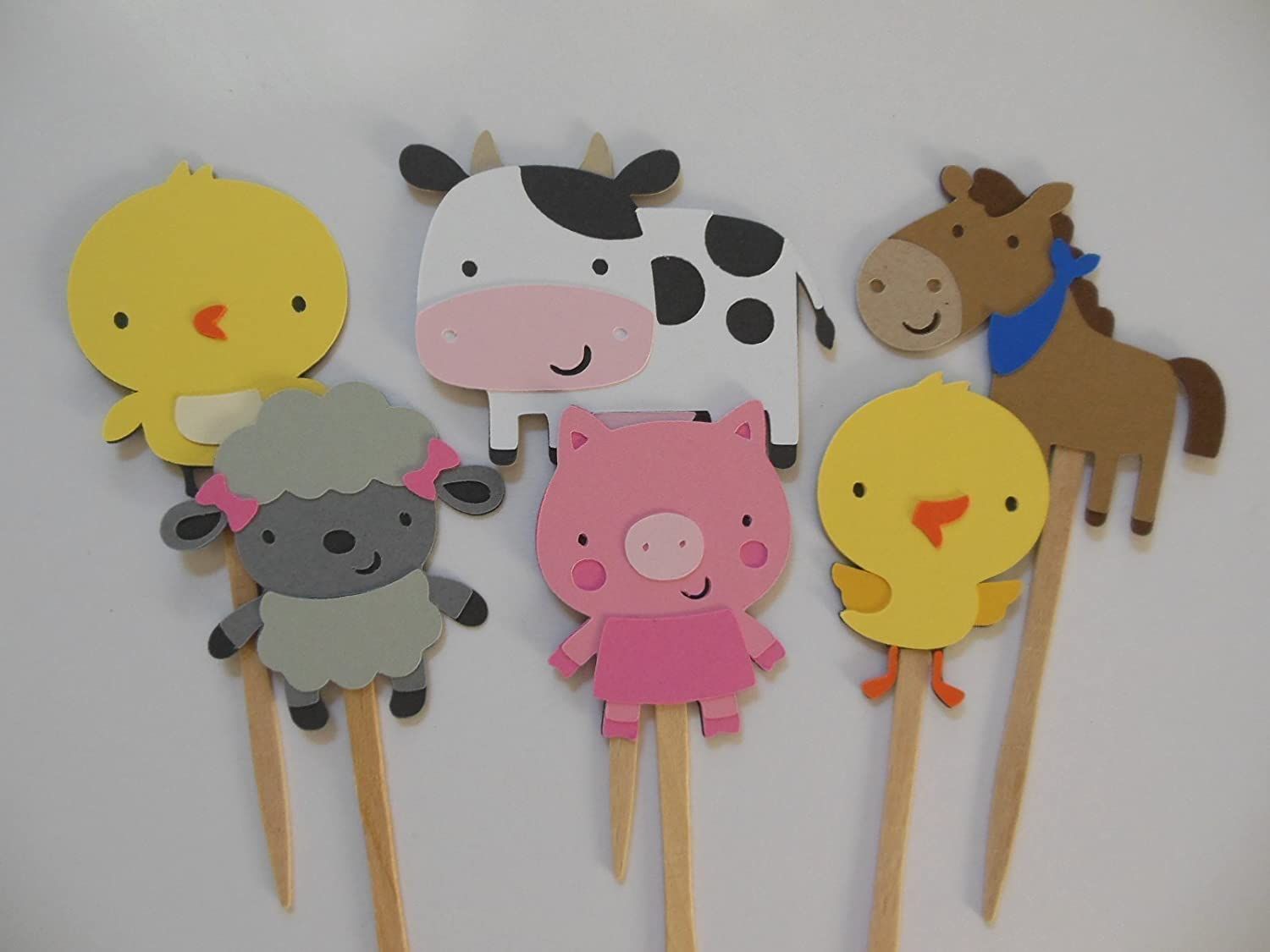 Farm Animal Cupcake Toppers - Baby Shower or Birthday Party Decorations - Set of 6