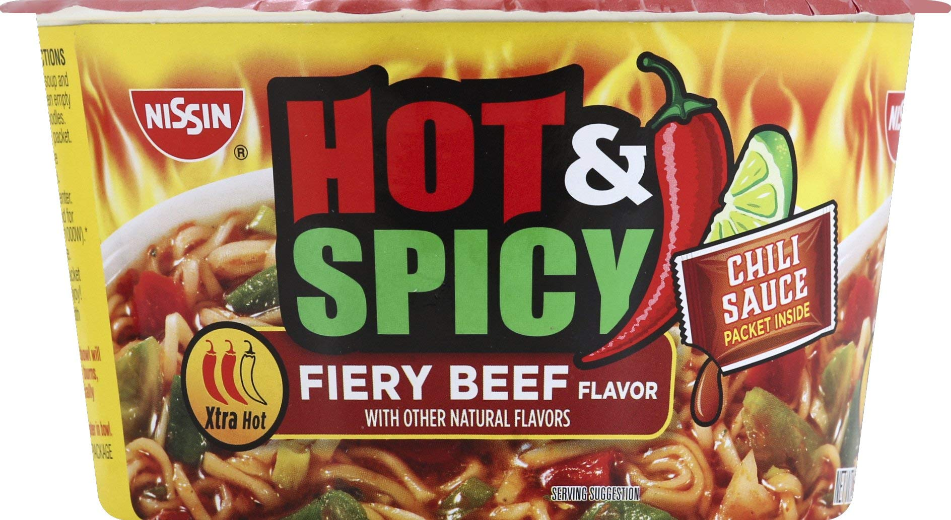 Nissin Noodle Bowl, Hot and Spicy Fiery Beef, 3.3 Ounce (Pack of 6)