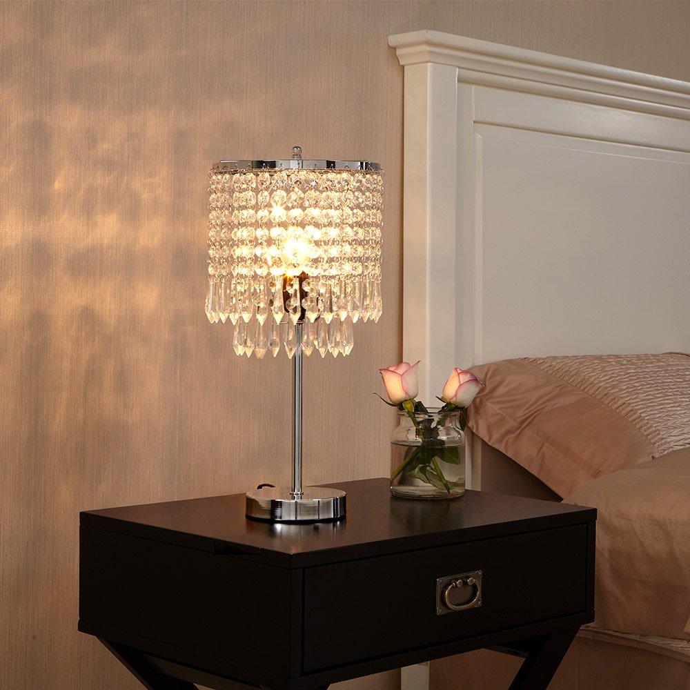 Popilion Elegant Decorative Chrome Bedside Crystal Table Lamp