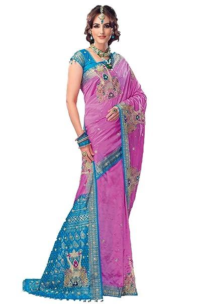 fd75e43b067aed Samyakk Silk Stone Work Half-and-Half Saree for Women  Pink   Amazon.in   Clothing   Accessories