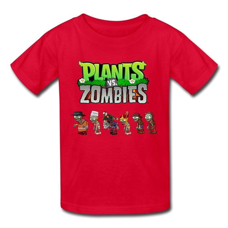 Zombies T-Shirts Size L Red LesGo-Tshirt Kids Geek Plants Vs