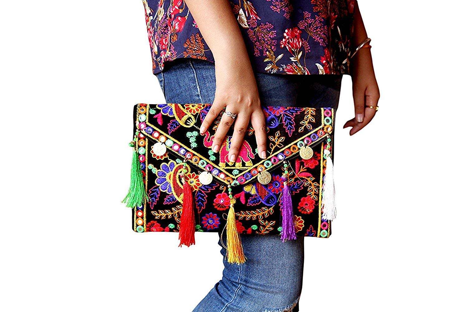 Hippie Handmade Clutch Purse for women Cotton Elephant Embroidery coin work Ethnic Vintage bohemian Tribal Banjara Black Sling Bags