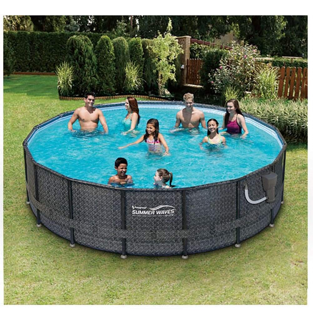 Amazon.com: Set de piscina con marco desmontable elevado del ...