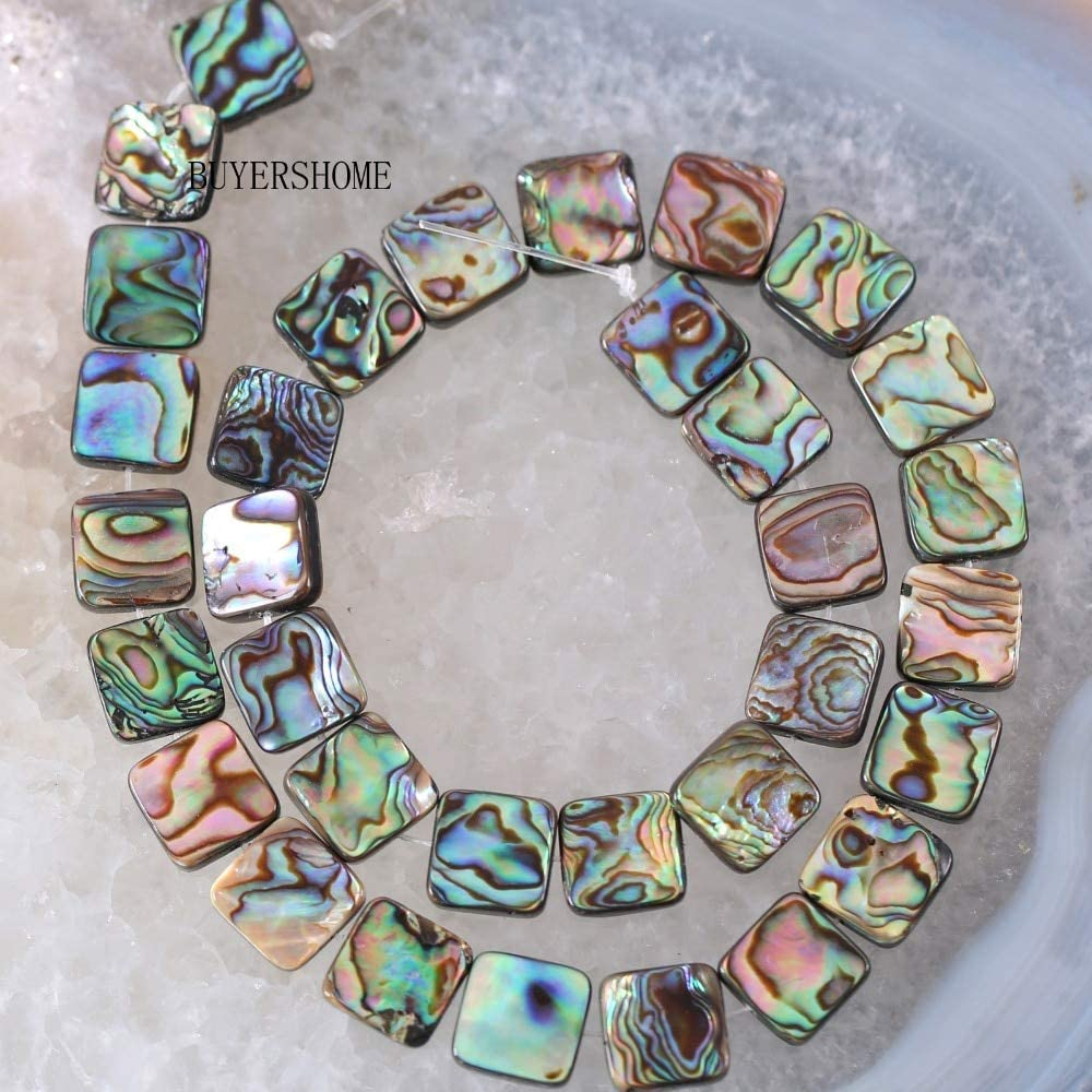Calvas New Without Tags Fahion Jewelry Blue 12MM Natural New Zealand Abalone Shell Square Loose Bead 16 RO024 Color:, Item Diameter: 12mm