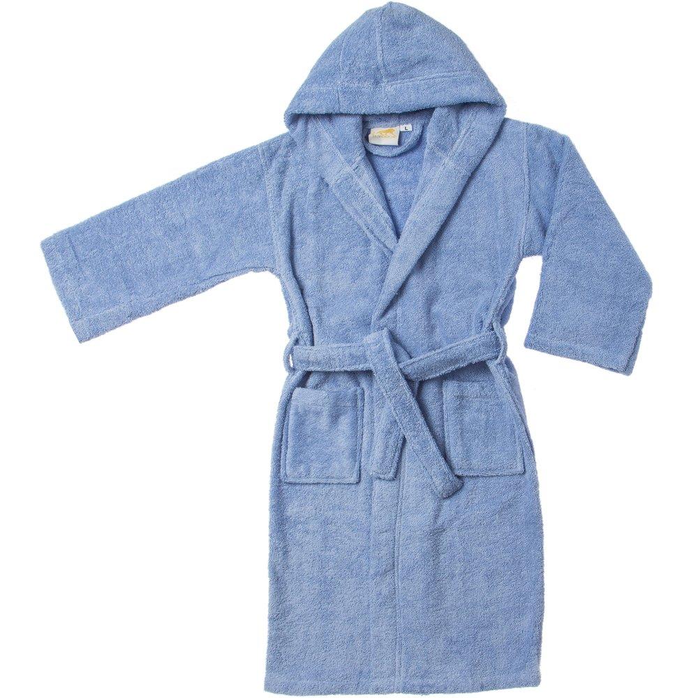 Long-Staple Cotton Unisex Kids Hooded Bath Robe, Small/Medium,White Blue Nile Mills