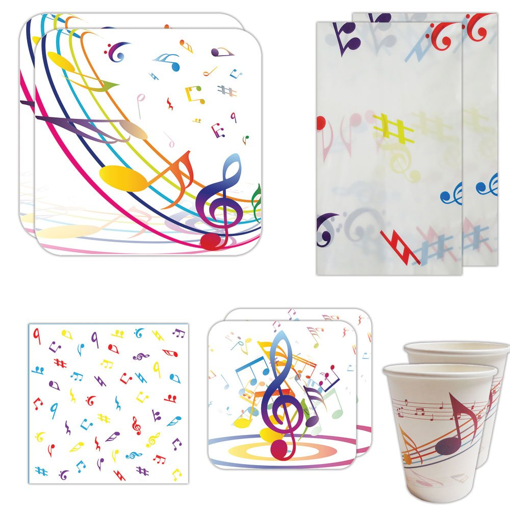 Blue Orchards Music Party Deluxe Party Packs (70 Pieces for 16 Guests!), Music Party Supplies