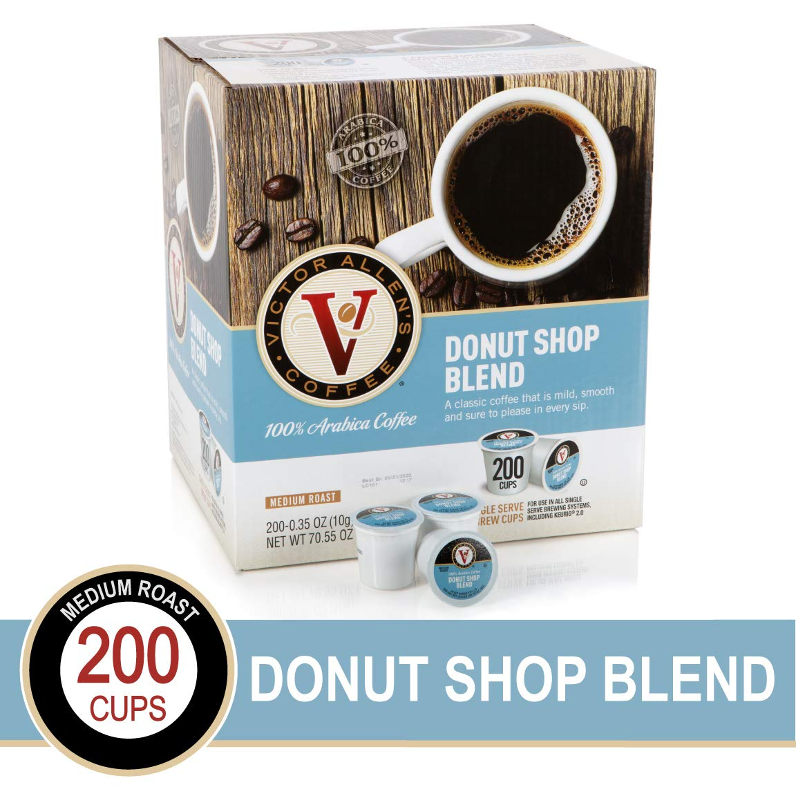 Donut Shop Blend for K-Cup Keurig 2.0 Brewers, 200 Count, Victor Allen's Coffee Medium Roast Single Serve Coffee Pods