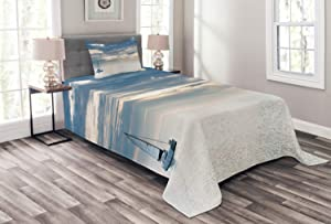 Ambesonne Nautical Bedspread, Sailing Yacht in The Morning Time on Tranquil Seascape Cloudy Sky Peaceful Marine Image, Decorative Quilted 2 Piece Coverlet Set with Pillow Sham, Twin Size, Blue